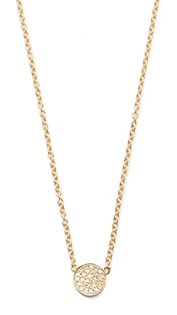 EF Collection Diamond Mini Disc Necklace - Gold