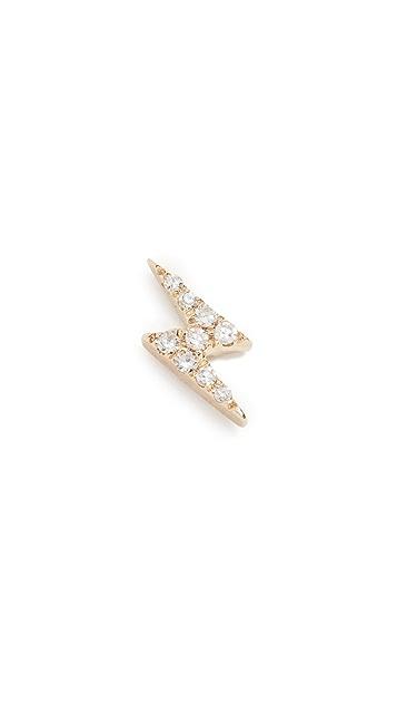 EF Collection Diamond Lightning Bolt Single Stud Earring
