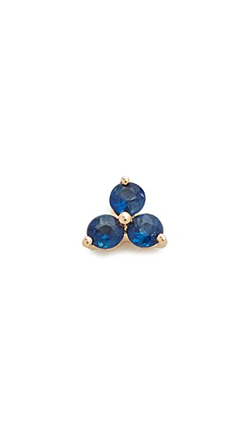 EF Collection Blue Sapphire Trio Single Stud Earring
