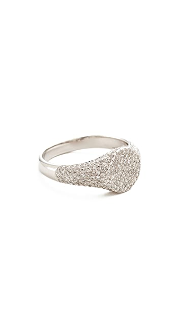 EF Collection 14k Diamond Signet Pinky Ring - White Gold