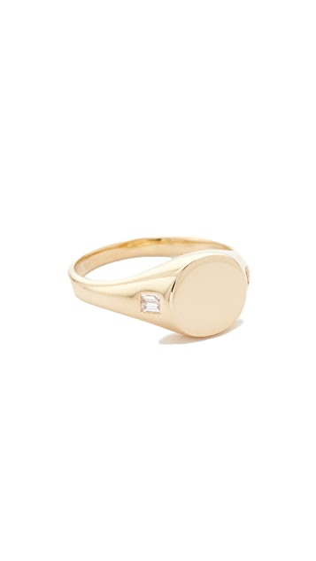 EF Collection 14k Diamond Baguette Signet Ring