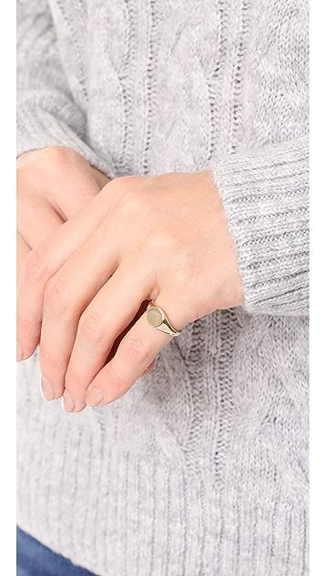 EF Collection 14k 钻石长方形宝石图章戒指