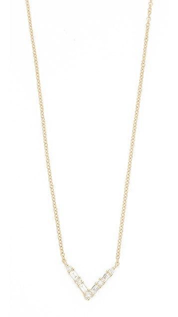 EF Collection 14k Gold Diamond Chevron Necklace