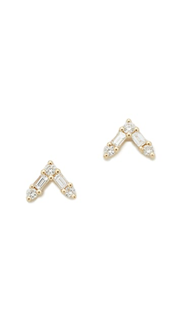 EF Collection 14k Gold Diamond Stud Earrings