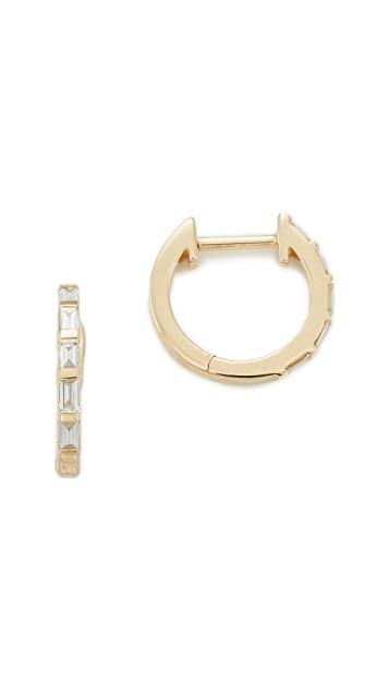 EF Collection 14k Gold Diamond Huggie Earrings