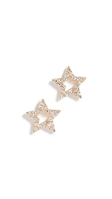 EF Collection 14k Gold Diamond Open Star Stud Earrings