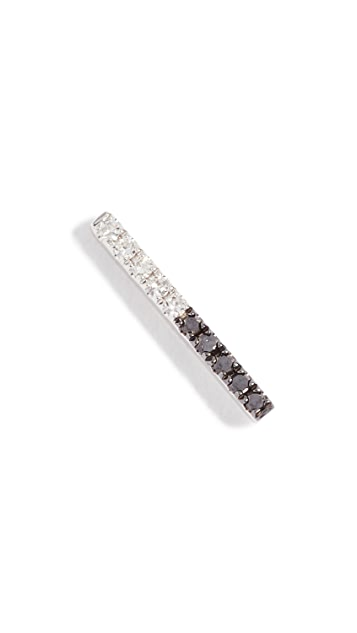 EF Collection 14k Gold Two Stone Diamond Bar Stud Earring