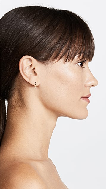 EF Collection 14k Gold Mini Single Huggie with Diamond Bezel Drop Earring