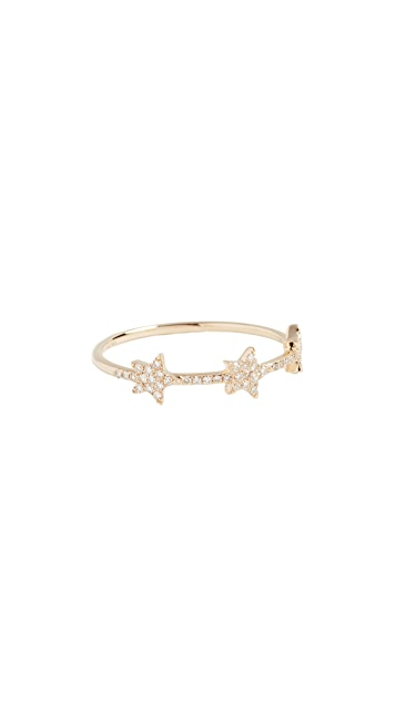 EF Collection 14k Gold Diamond Triple Star Ring