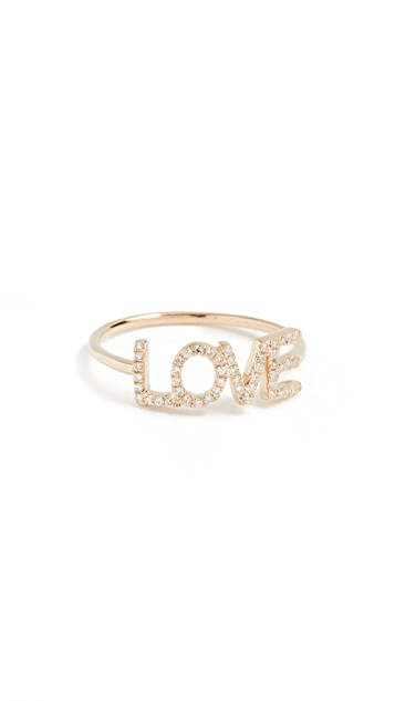 EF Collection 14k Gold Diamond Love Ring