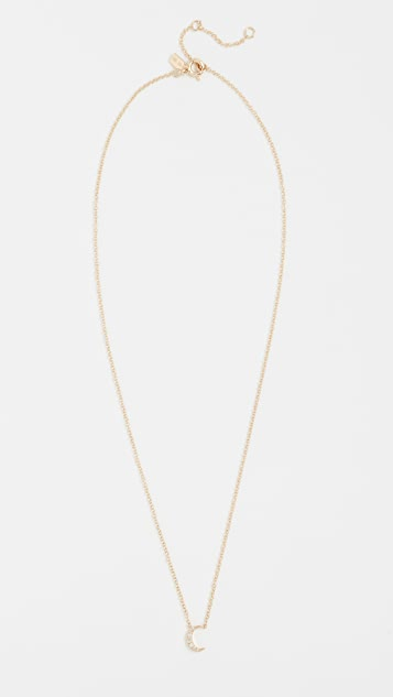 EF Collection 14k Gold Diamond Moon Necklace