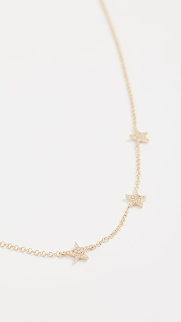 EF Collection 14k Gold Diamond 5 Mini Star Necklace