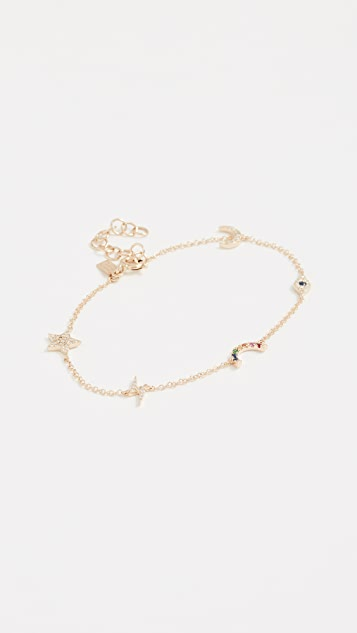 EF Collection 14k Gold Diamond Cosmic Charm Bracelet NaXK2mO