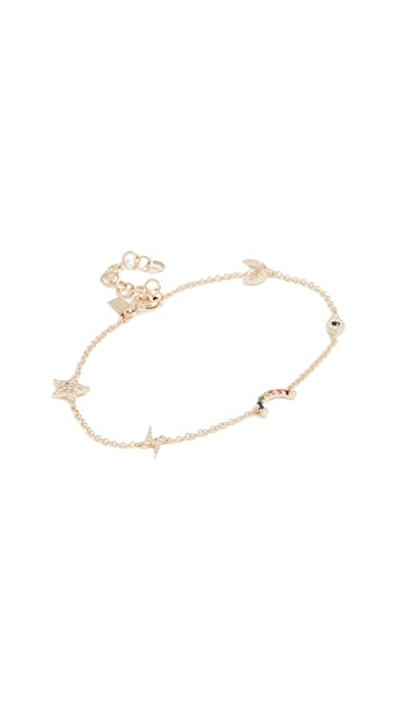 EF Collection 14k Gold Diamond Cosmic Charm Bracelet