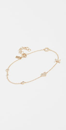 EF Collection - 14k Gold Diamond Sweetheart Charm Bracelet
