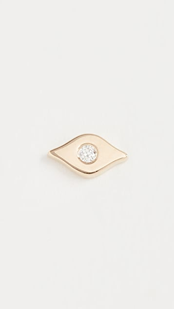 EF Collection 14k Gold Diamond Evil Eye Stud Earring