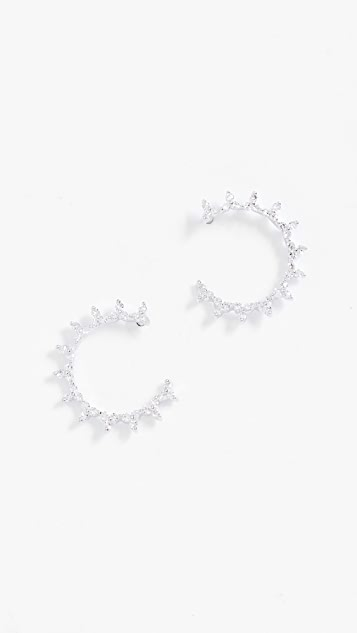 EF Collection 14k Gold Diamond Trio Illusion Hoop Earrings
