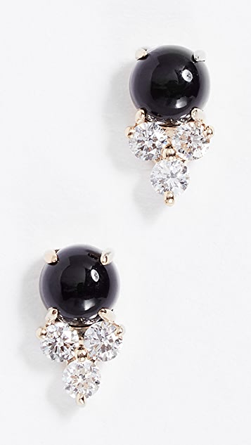 EF Collection 14k Gold Diamond Trio Stone Stud Earrings - Onyx/Gold
