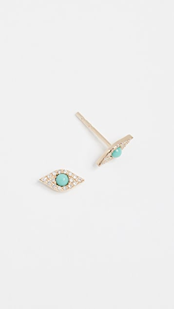 EF Collection 14k Diamond Jumbo Turquoise Evil Eye Stud Earrings gVM4OflaH