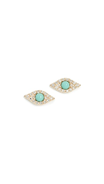 EF Collection 14k Diamond Jumbo Turquoise Evil Eye Stud Earrings