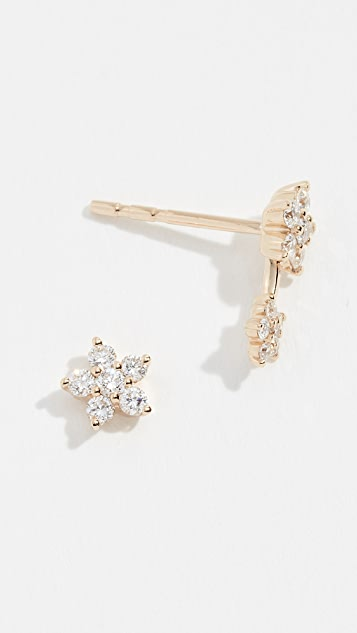 EF Collection 14k Diamond Flower Stud Earrings