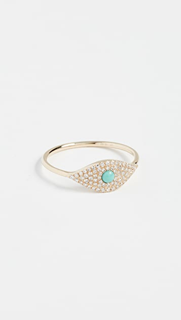 EF Collection 14k Diamond Jumbo Turquoise Evil Eye Ring