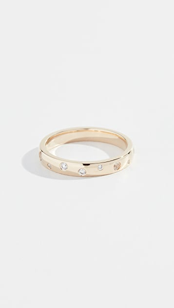 EF Collection 14k Diamond and White Sapphire Speckled Ring