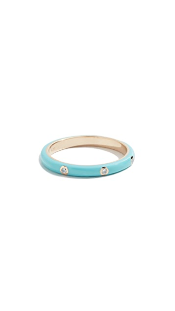 EF Collection 14k Three Diamond Enamel Stack Ring