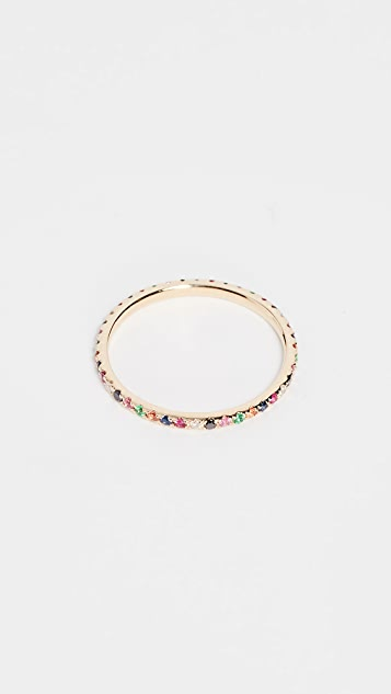 EF Collection 14k Gold Rainbow Eternity Band