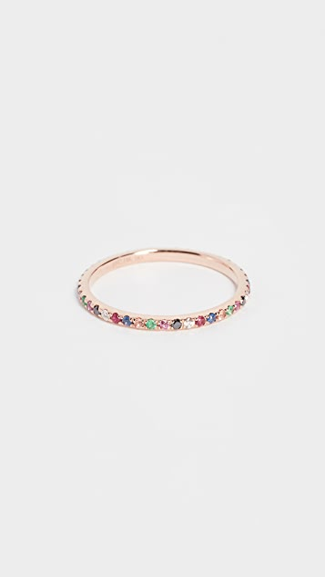 EF Collection 14k Rose Gold Rainbow Eternity Band