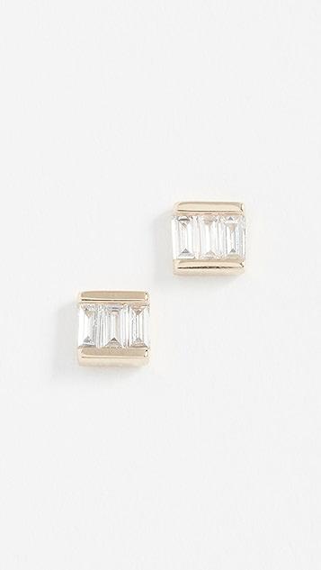EF Collection 14k Mini Baguette Diamond Studs