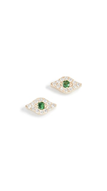 EF Collection 14k Diamond Evil Eye Stud Earrings