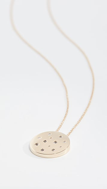 EF Collection 14k Sapphire Speckled Disc Necklace
