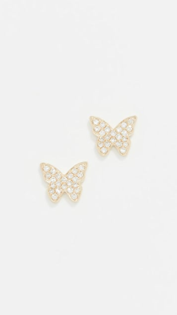 EF Collection Серьги-гвоздики Butterfly из 14-каратного золота с бриллиантами