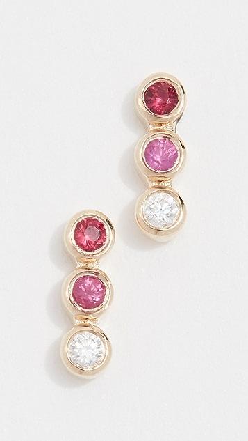 EF Collection Серьги-гвоздики из 14-каратного золота с бриллиантами, розовыми сапфирами и рубинами
