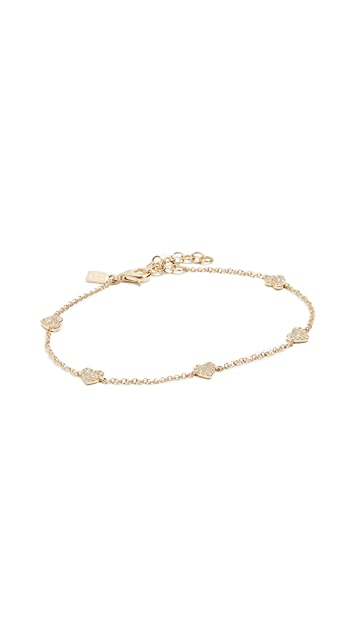 EF Collection 14k Mini Diamond Heart Chain Bracelet