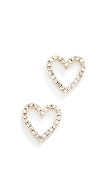 EF Collection 14k Diamond Open Heart Stud Earrings