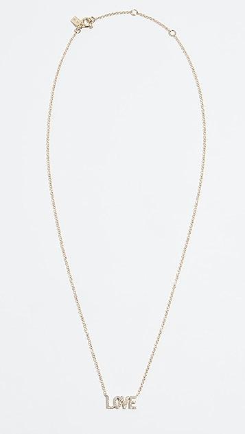 EF Collection 14k Mini Diamond Love Necklace