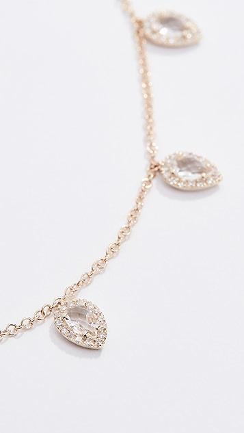 EF Collection Колье Multi из 14-каратного золота с белыми топазами, бриллиантами и каплевидными элементами