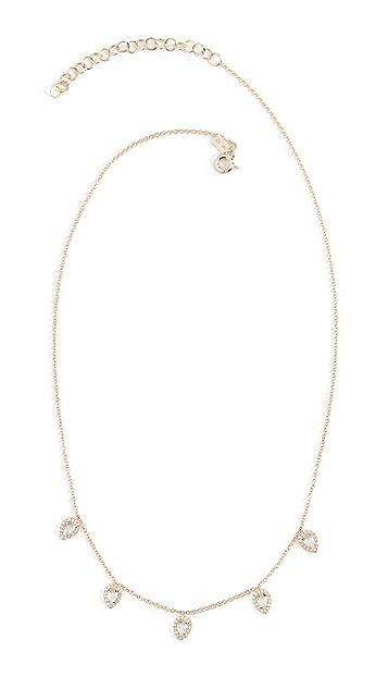 EF Collection 14k Diamond White Topaz Multi Teardrop Necklace