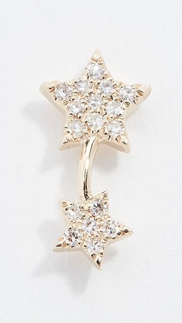 EF Collection Серьги-гвоздики Double Star из 14-каратного золота с одним бриллиантом