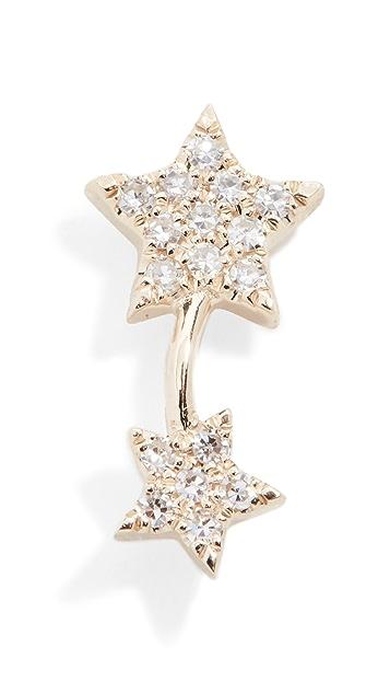 EF Collection 14k Single Diamond Double Star Stud Earring