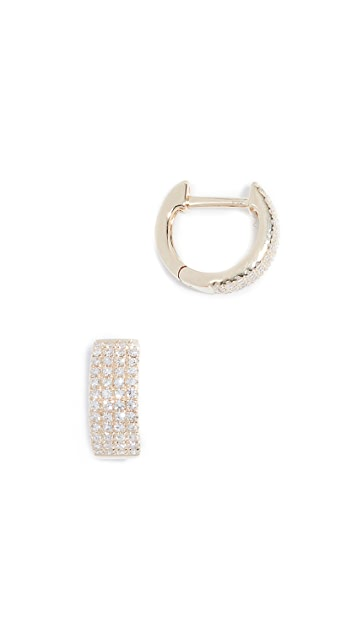 EF Collection 14k Diamond Jumbo Huggie Earrings