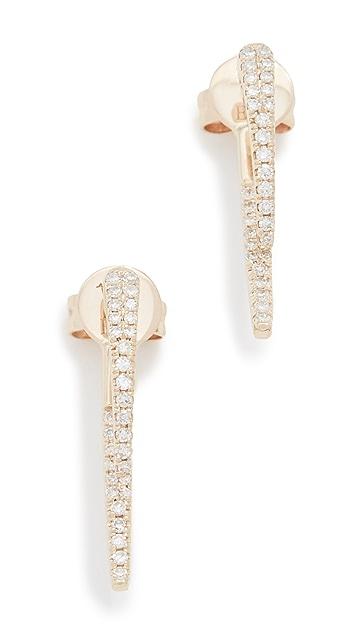 EF Collection 14k Diamond Hook Earrings