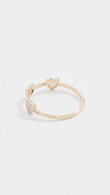 EF Collection 14k Diamond Triple Mini Heart Stack Ring