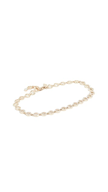EF Collection 14k Half Diamond Open Circle Eternity Bracelet