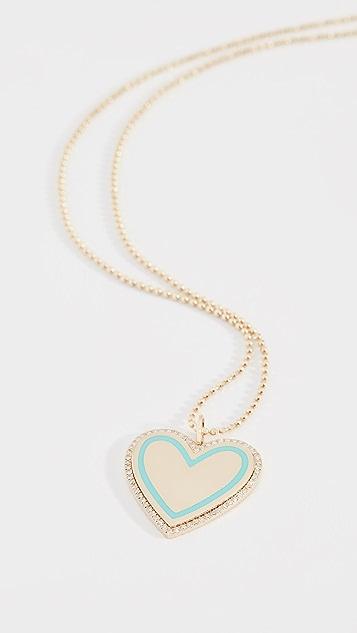 Ef Collection 14k Diamond Amp Enamel Heart Necklace