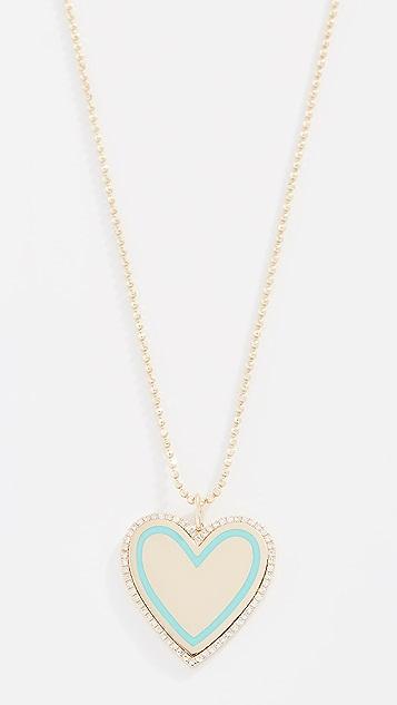 EF Collection Колье Heart из 14-каратного золота с бриллиантами и эмалью