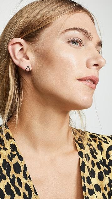 EF Collection 14k Black Diamond Chevron Huggie Stud Earrings