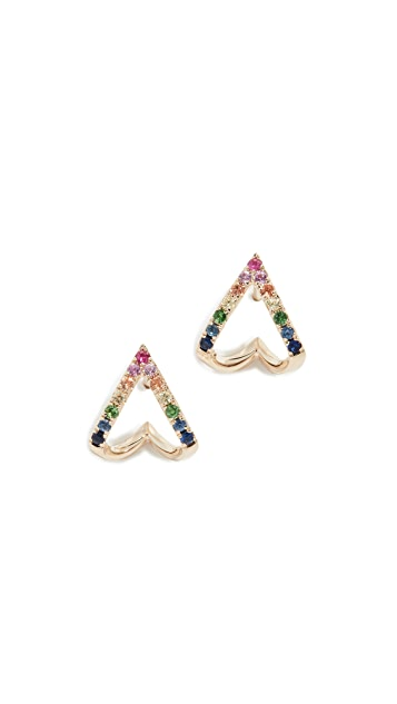EF Collection 14k Rainbow Chevron Huggie Stud Earrings